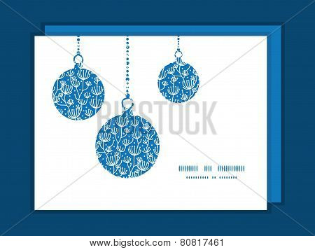 Vector blue white lineart plants Christmas ornaments silhouettes pattern frame card template