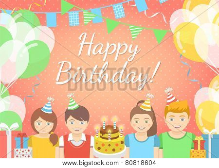 Kids Birthday Party Pink Background