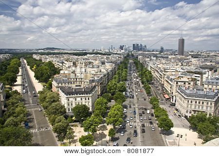 Aerial View Of Paris From Triumphal Arch