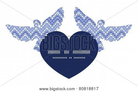 Vector purple drops chevron birds holding heart silhouette frame pattern invitation greeting card te