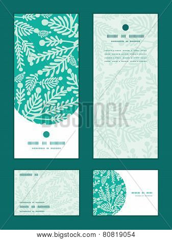 Vector emerald green plants vertical frame pattern invitation greeting, RSVP and thank you cards set