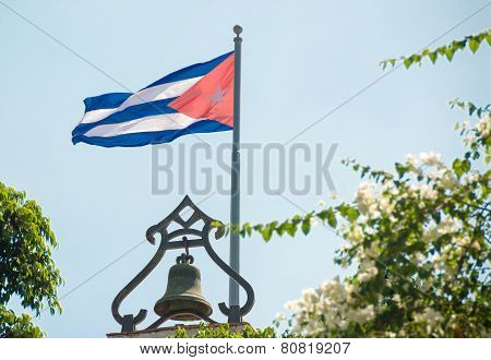 Cuban Flag Waving in the Blue Sky