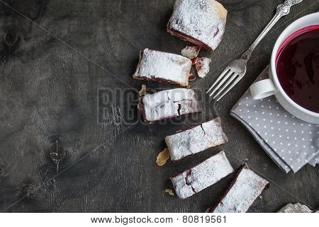Baking Dark Background With Cherry And Walnut Strudel. Selective Focus