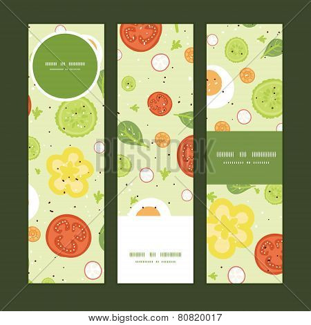 Vector fresh salad vertical banners set pattern background
