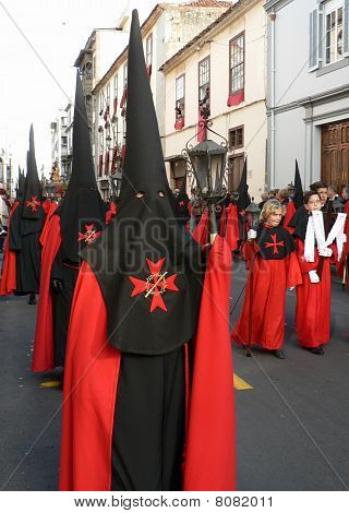Penitents in Holy Week procession, Spain