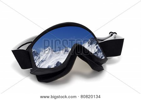 Ski Goggles With Reflection Of Snowy Mountains In Nice Day