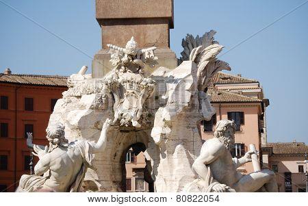 Rome, Piazza Navona, Fountain from Bernini in Italy