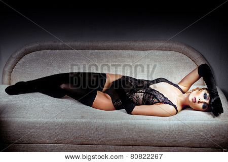 Woman In Black Stockings