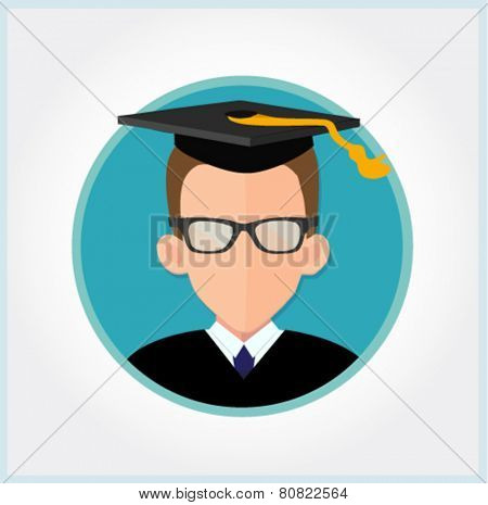 graduate student vector in flat design