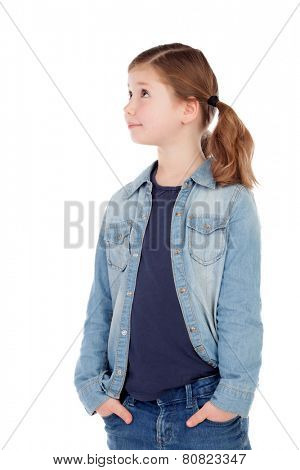 Funny girl with pigtails looking up isolated on a white background