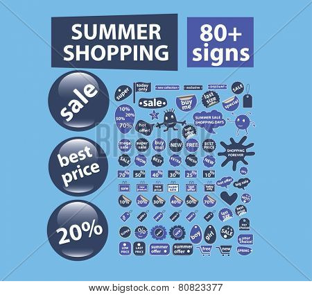 summer retail, shopping, stickers, labels, buttons, elements, icons, signs, illustrations set, vector