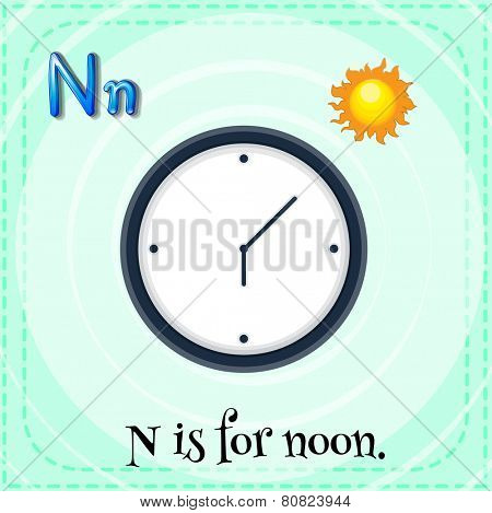 Illustration of a letter N is for noon
