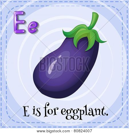 Illustration of a letter E is for eggplant