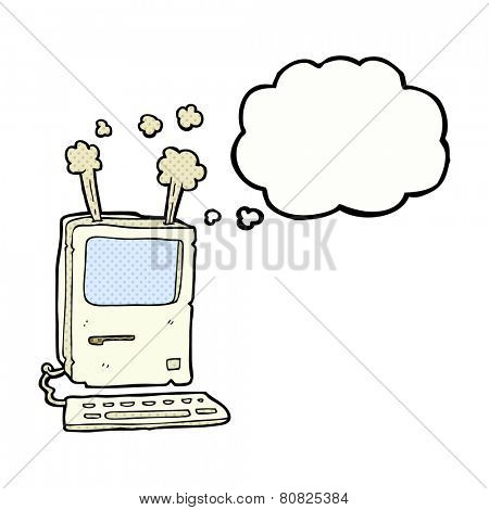 cartoon old computer with thought bubble