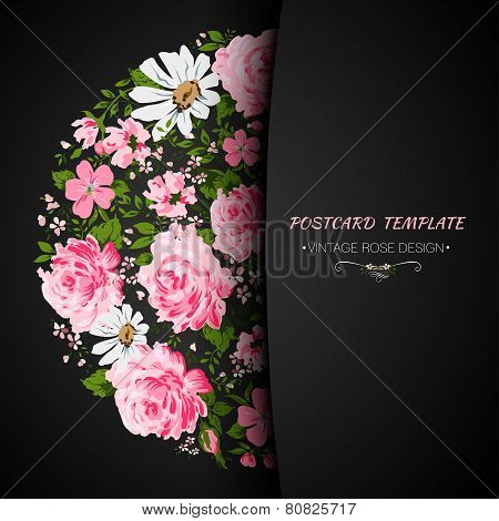 Card with flowers- rose, peony, camomile. Place for a text