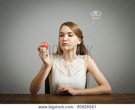 Girl In White And Apple