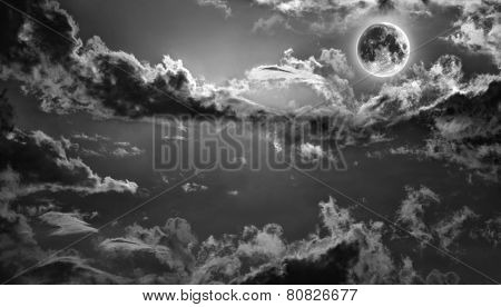 Dark haunted night sky with full moon