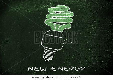 Eco Lightbulb, Compact Fluorescent Bulb, For Energy Consumption Saving