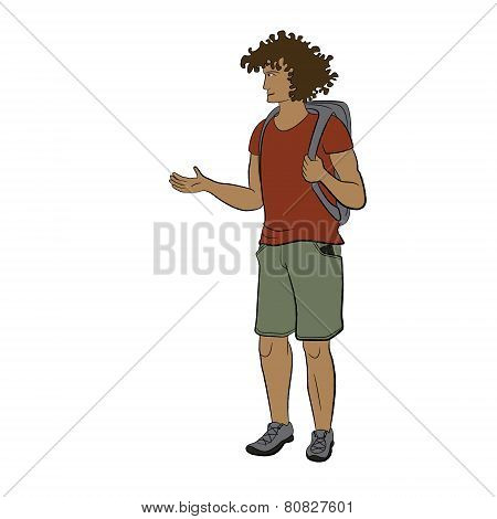 Young sun-tanned man with backpack