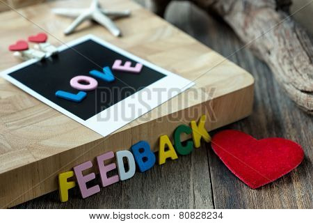 Love feedback message on Blank instant photo