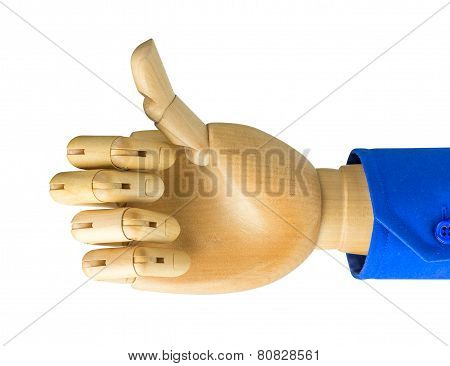 Wooden hand show sign Like solated on a white background