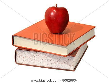Red apple and educational science textbooks