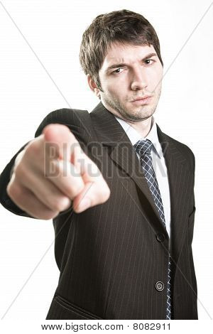 Angry Boss Or Furious Business Man Pointing