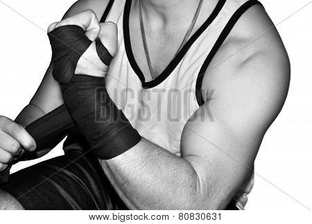 Mixed martial arts fighter wrapping his wrists