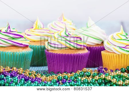Mardi Gras Cupcakes And Beads