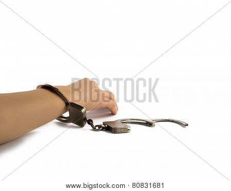 Woman's Hand In Handcuffs