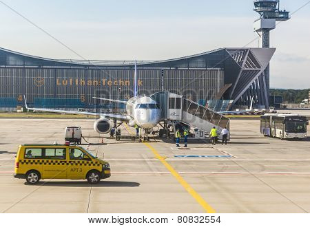 Lufthansa Aircraft In Front Of Maintanance Hall In Frankfurt