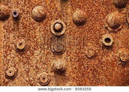 Close-Up de uma caldeira de vapor de Rusty