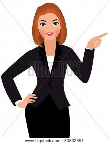 Young Business Woman Isolated On A White Background Points Hand At Something
