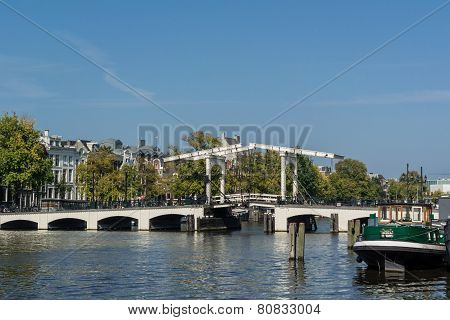 Drawbridge On The Amstel River In Amsterdam