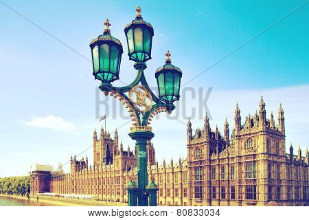 Houses of Parliament and lanterns, London