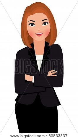 Young Business Woman With Arms Folded Isolated On White Background