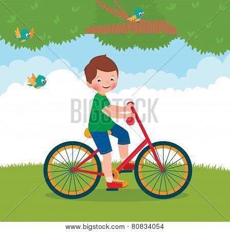 Boy Rides A Bike