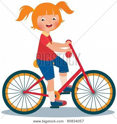Child Girl Rides A Bike