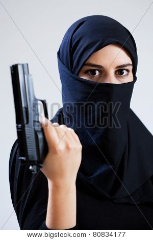 Woman In A Veil Holding Gun