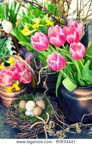 Easter Decoration With Colorful Spring Flowers. Tulips, Snowdrops And Narcissus