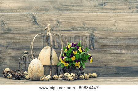 Easter Still Life  With Eggs And Pansy Flowers. Vintage Style