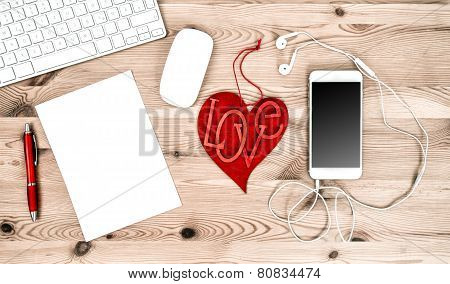 Office Workplace With Red Heart, Keyboard, Tablet Pc, Phone