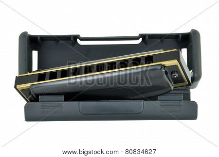 Blues Harp & Case Isolated On A White Background
