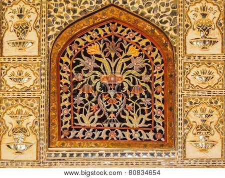 Colorful Floral Marble Window At Amer Palace