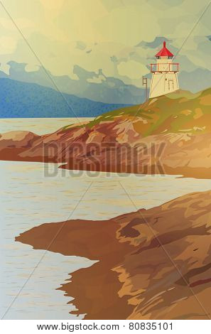Lighthouse on fjord coast in Norway. EPS 10 format.