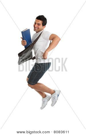 Excited University Student Jumping