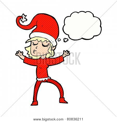 santa's helper cartoon with thought bubble