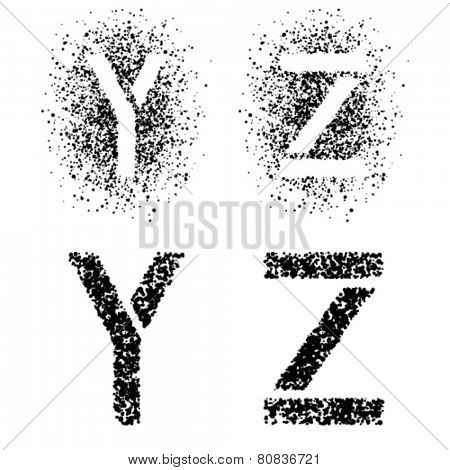 vector stencil angular spray font letters Y Z