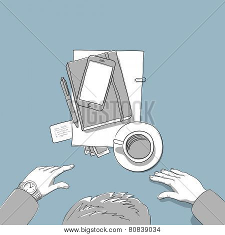 Business man coffe break, top view  - hand drawn computer illustration