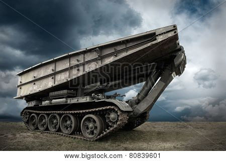 Military tank under sky